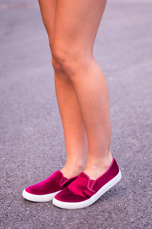 Franklin Velvet Slip On in Merlot