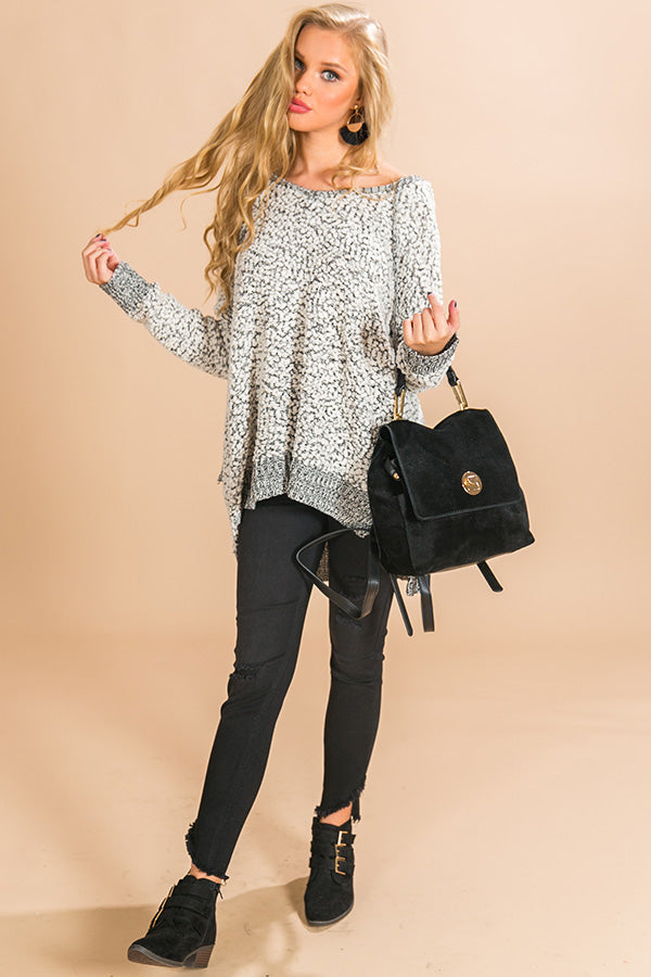 Warm Fuzzy Feelin' Two Tone Sweater in Black