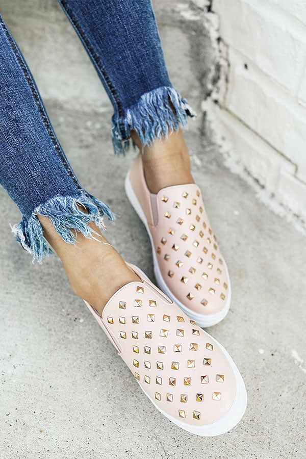 The Katey Faux Leather Sneaker in Blush