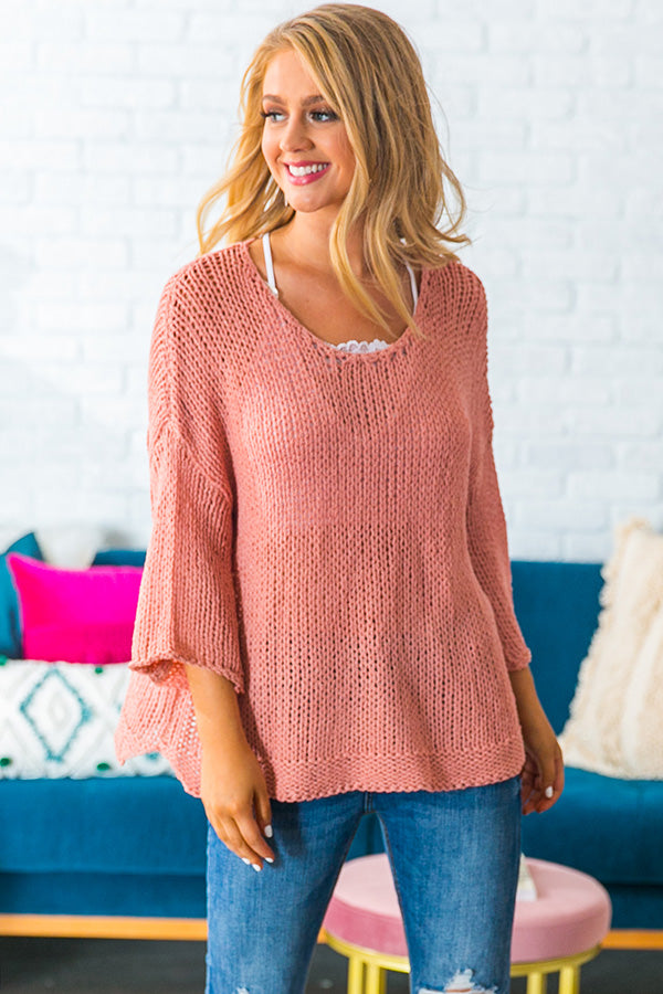 Charleston Cuddles Knit Sweater in Blush
