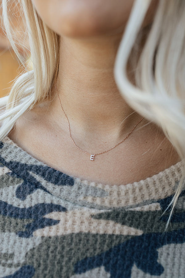 Sparkle Divine Initial Necklace in Rose Gold