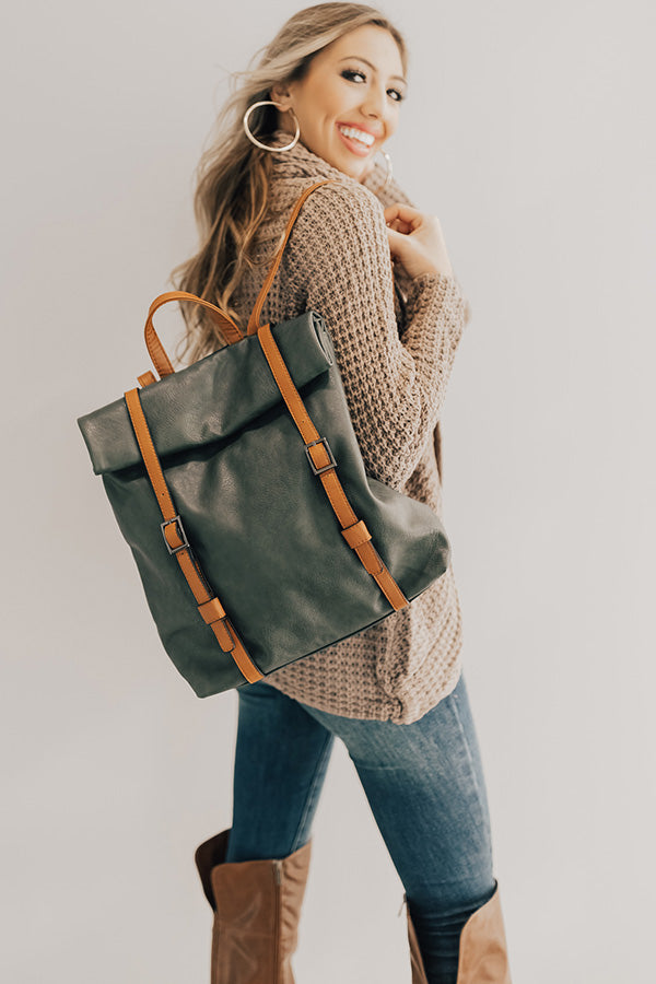 The Libby Faux Leather Backpack In Forest
