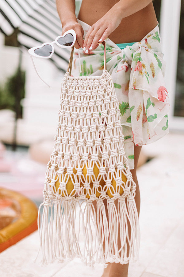 Sand And Shore Netted Bucket Bag In Ivory