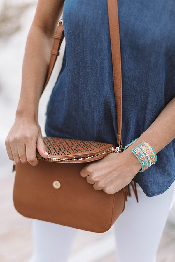 Patio Breeze Faux Leather Crossbody In Cinnamon