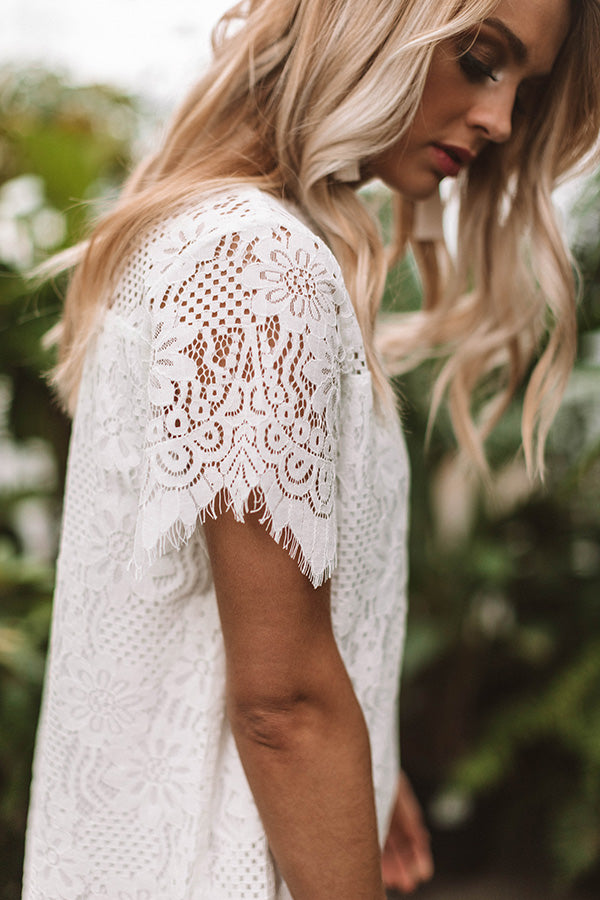 My Cup Of Tea Lace Shift Dress In White