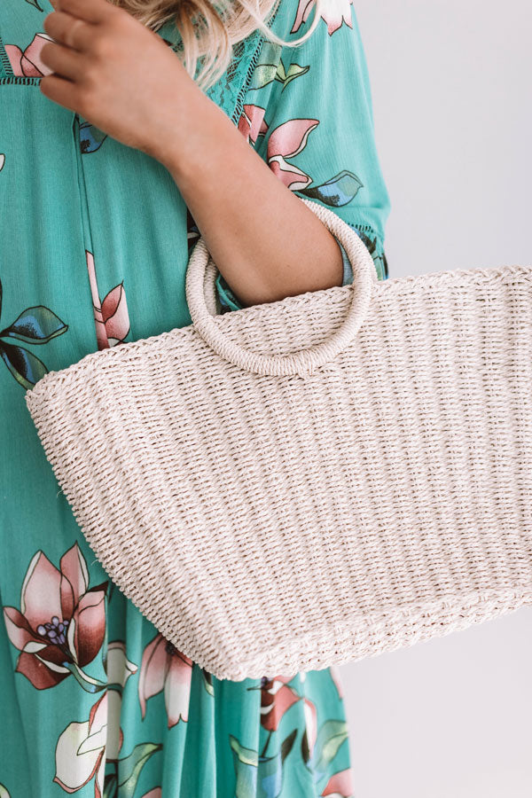 Tropical State Of Mind Woven Tote In Cream
