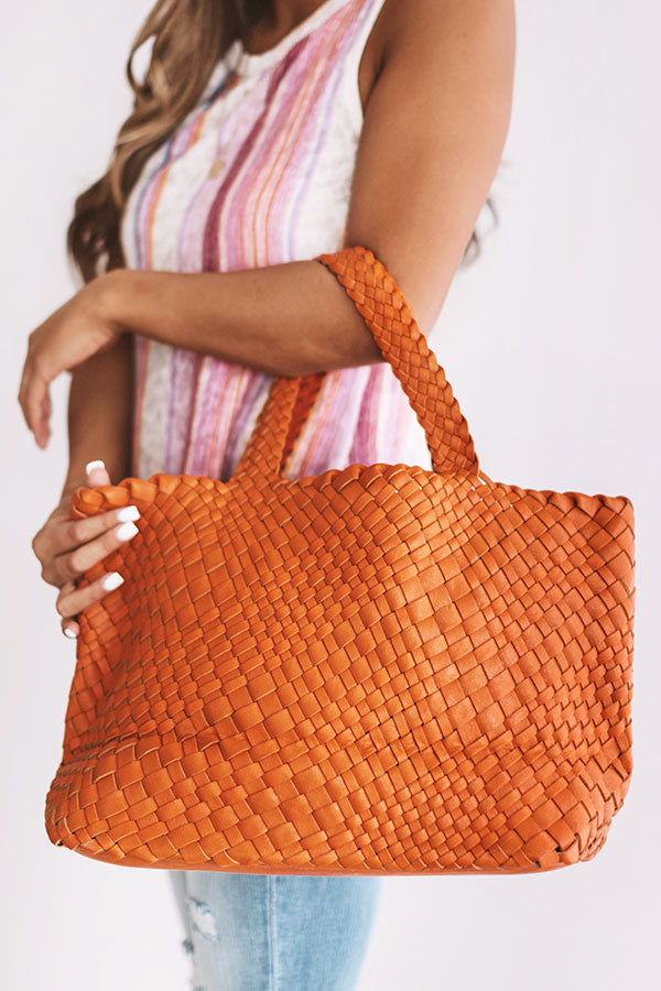Uptown Bliss Woven Tote In Persimmon