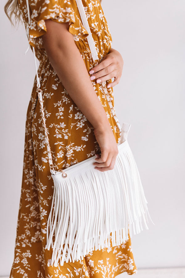 Right On Cue Fringe Crossbody In White
