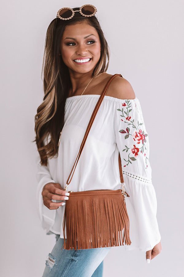Right On Cue Fringe Clutch In Brown