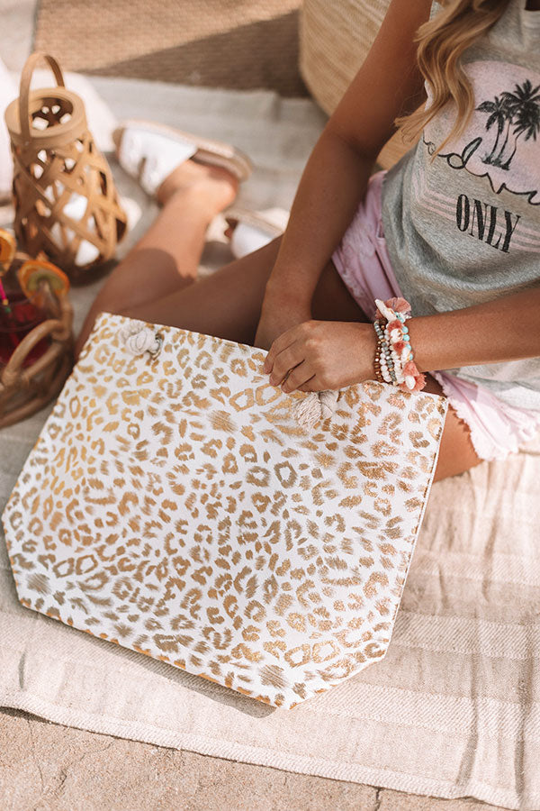 Serene Shores Leopard Tote in Rose Gold