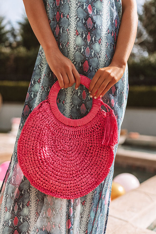 Amalfi Adventure Woven Tote in Hot Pink