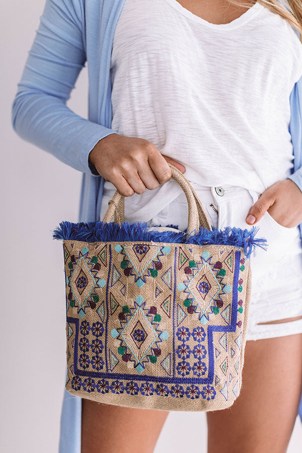 Coast To Coast Cute Embroidered Tote In Blue