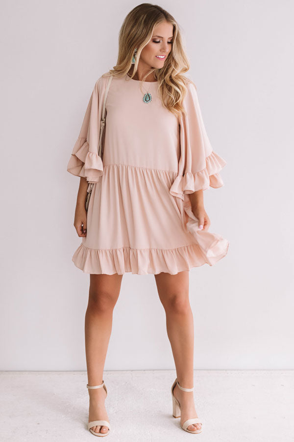 Sunshine Swing Shift Dress in Dusty Peach