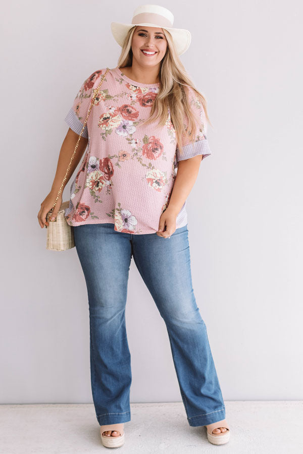 Floral Feels Waffle Knit Top in Pink