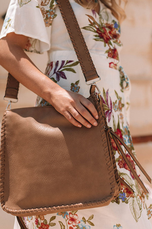 Vegas Weekend Faux Leather Crossbody In Mocha