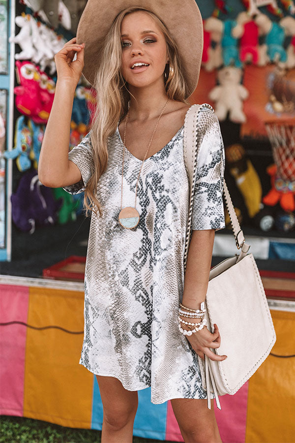Without A Doubt Snake Print Shift Dress