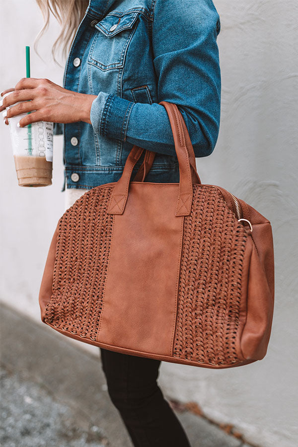Out Of Office Faux Leather Tote In Brown