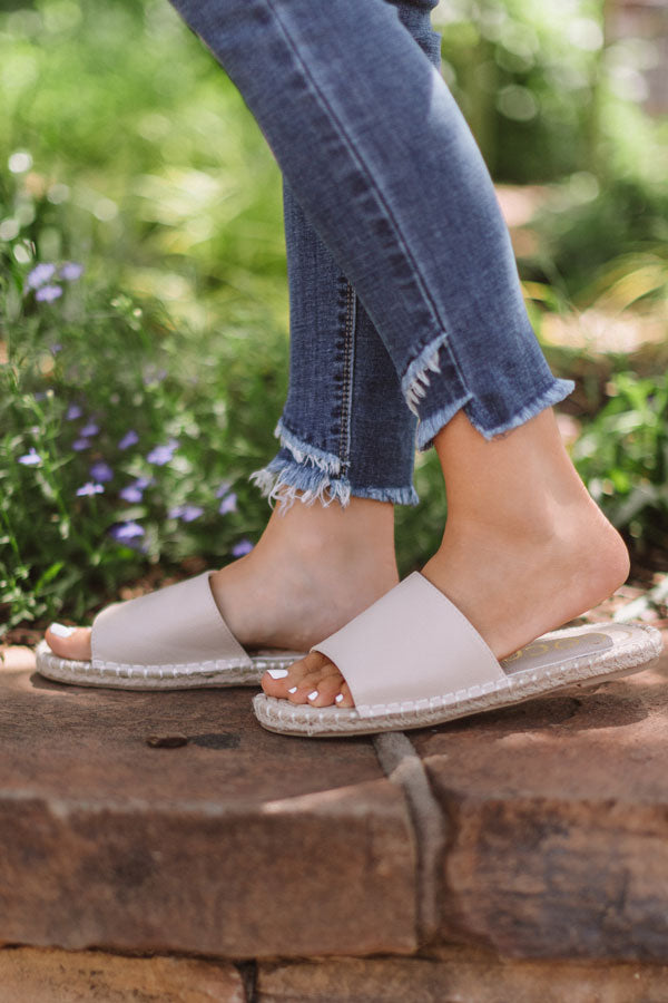 The Lyndley Faux Leather Sandal In Stone
