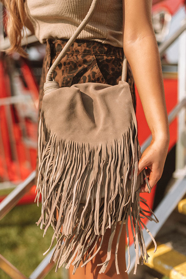 Spanish Coast Fringe Crossbody In Taupe