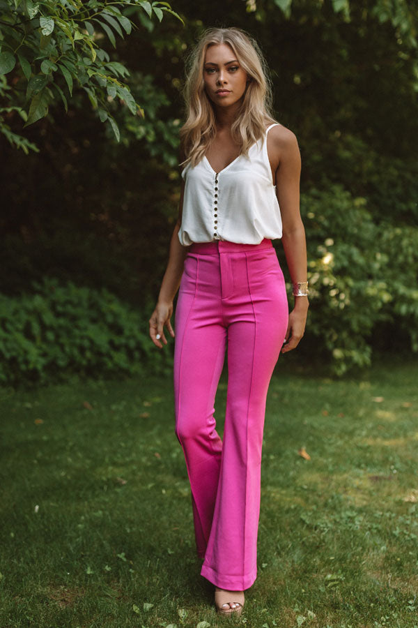 Stealing The Show High Waist Trousers In Hot Pink