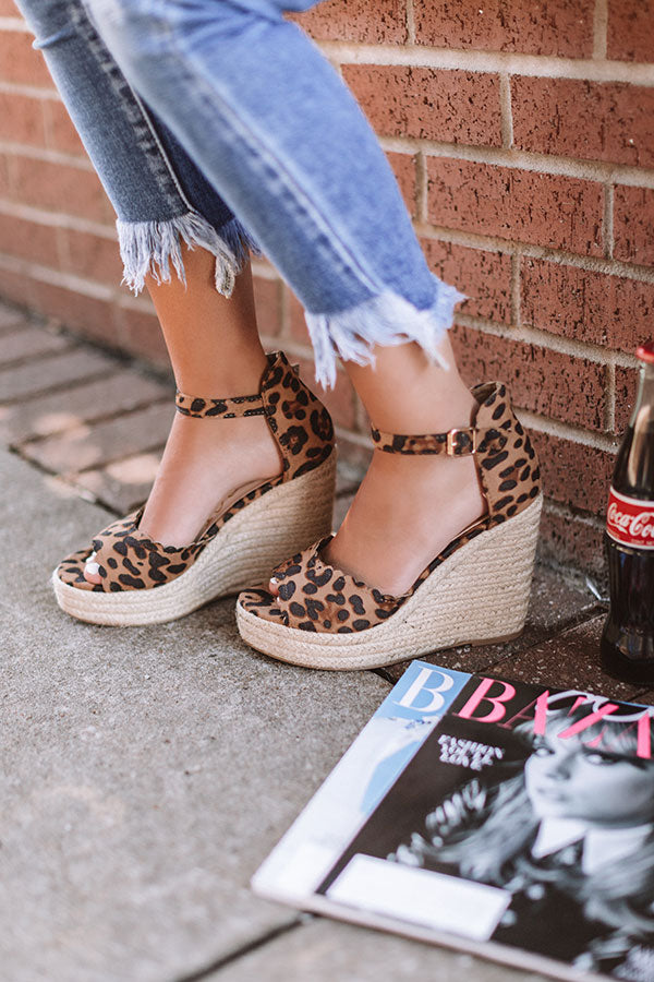 The Nicolette Faux Suede Espadrille Wedge in Leopard