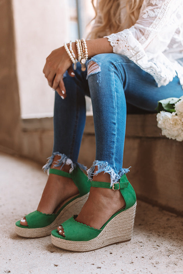 The Nicolette Faux Suede Espadrille Wedge in Emerald
