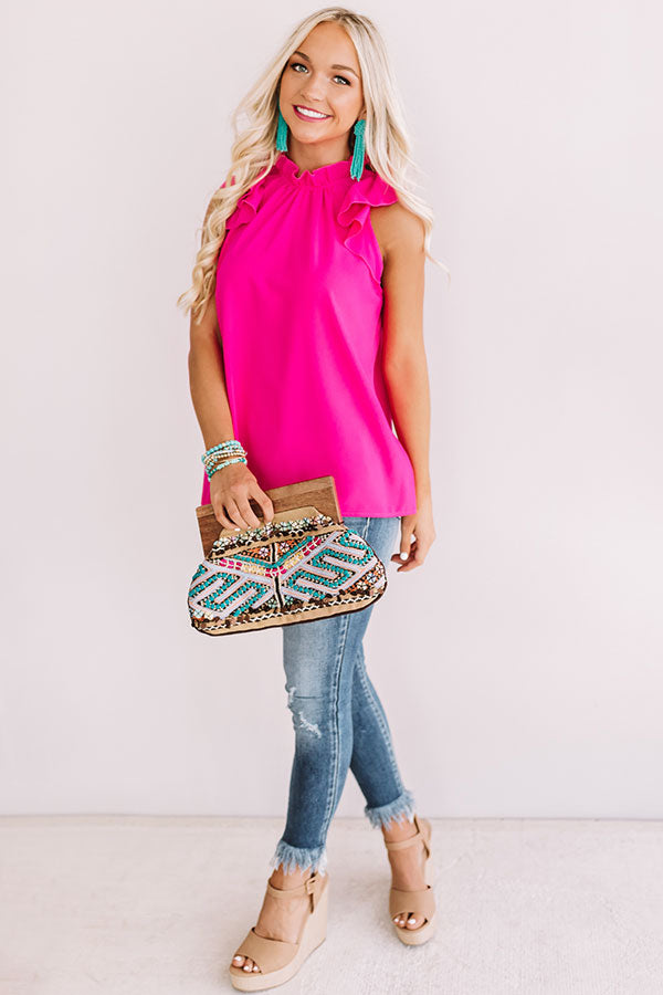 Strike A Rose Ruffle Top In Hot Pink