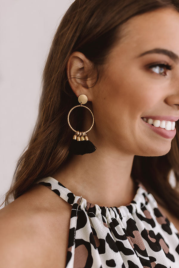 Beyond Lovely Tassel Earrings in Black