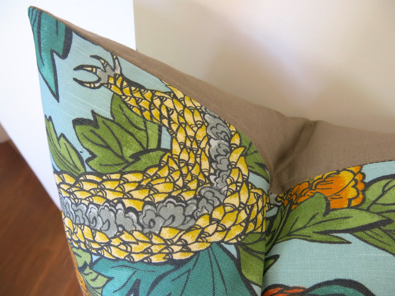 Ming Dragon Pillow Cover - Aqua