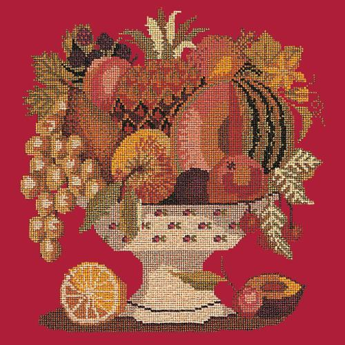 Bowl of Fruit Needlepoint Kit Elizabeth Bradley Design Bright Red