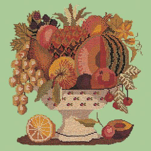 Bowl of Fruit Needlepoint Kit Elizabeth Bradley Design Pale Green