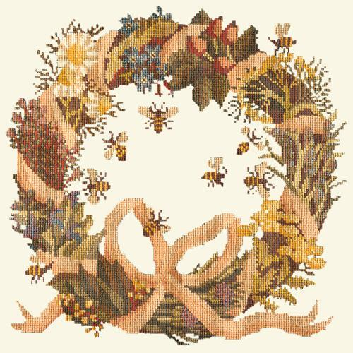 Wreath of Herbs Needlepoint Kit Elizabeth Bradley Design Winter White