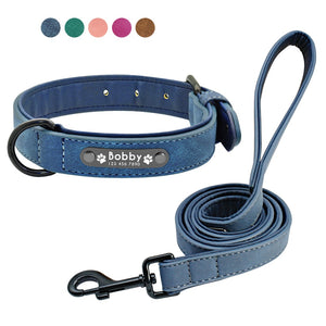 Personalized Leather Collar + Leather Leash