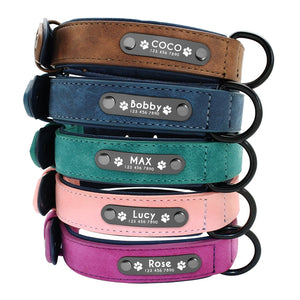 Customized Name ID Leather Dog Collar