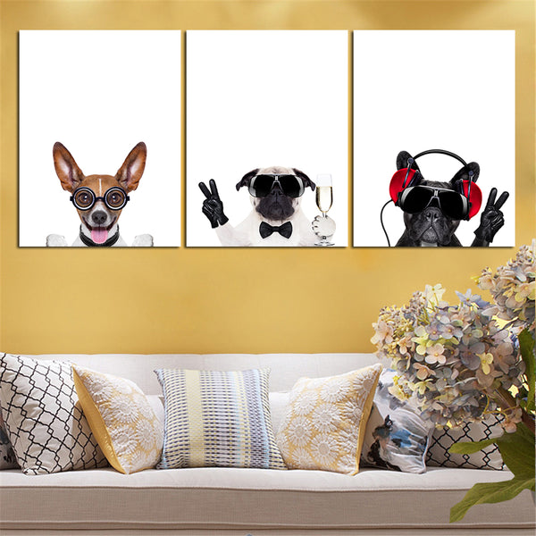 Cute Dogs 3 Piece Wall Art Canvas Print