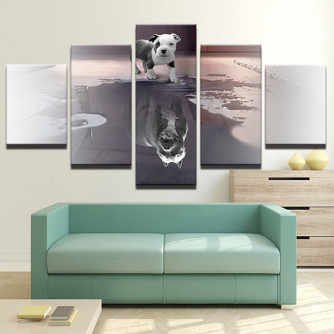 Dog and Shadow 5 Piece Wall Art Canvas Print