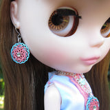 Blythe doll pink and turquoise blue filigree dangles