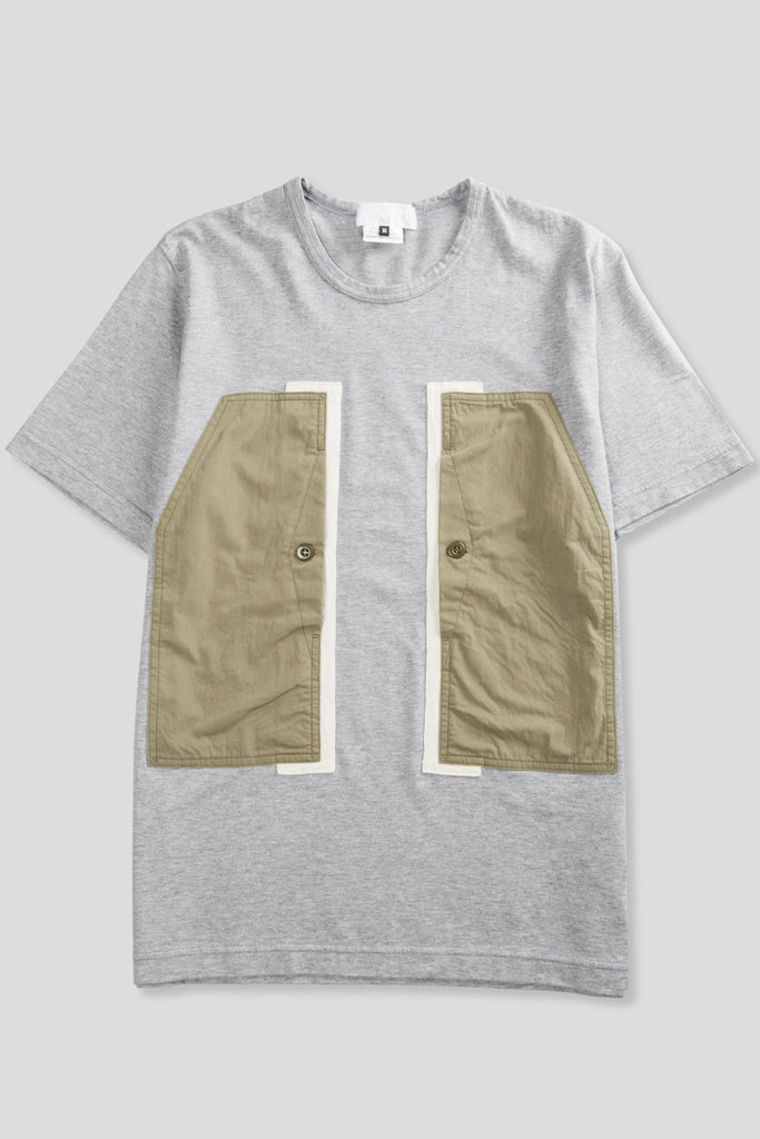 GANRYU SS PANEL POCKET TSHIRT GREY OLIVE