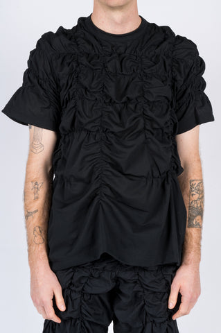 COMME DES GARCONS HOMME PLUS RUCHED POLYESTER MESH TSHIRT - BLENDS