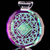 Faceted Square Opal Dichro Refractor Pendant