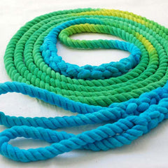 14-ft Double Jump Rope Skipping Rope, Hand-Spliced and Dyed, Green & Turquoise