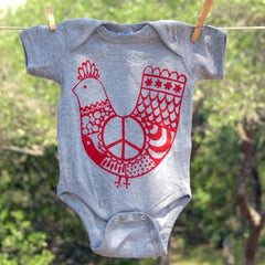 Baby Onesie, Red 'Peace Chicken' on Gray Onesie