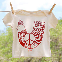 Organic Cotton Lap Shoulder Baby Shirt, Red 'Peace Chicken' on Natural Shirt
