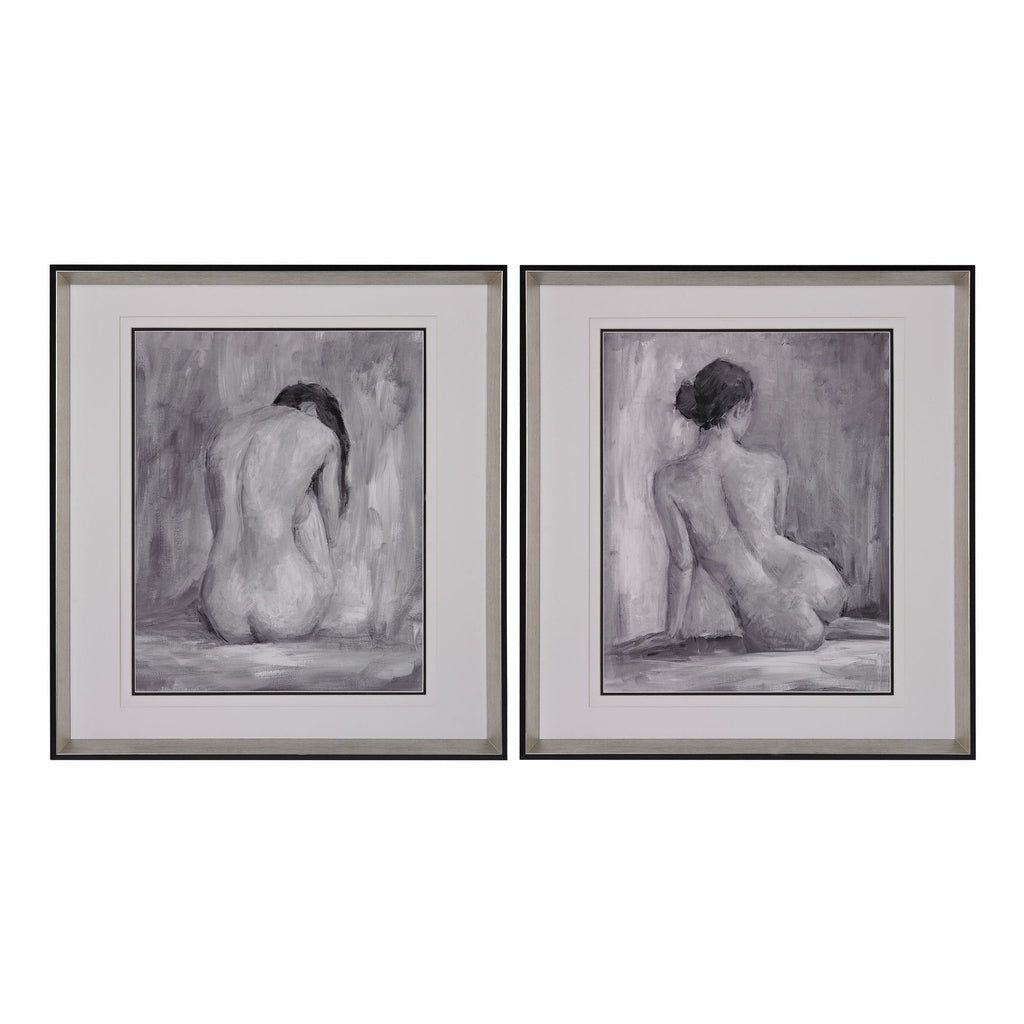 Figure In Black And White I And Ii - Fine Art Print Under Glass design by Lazy Susan
