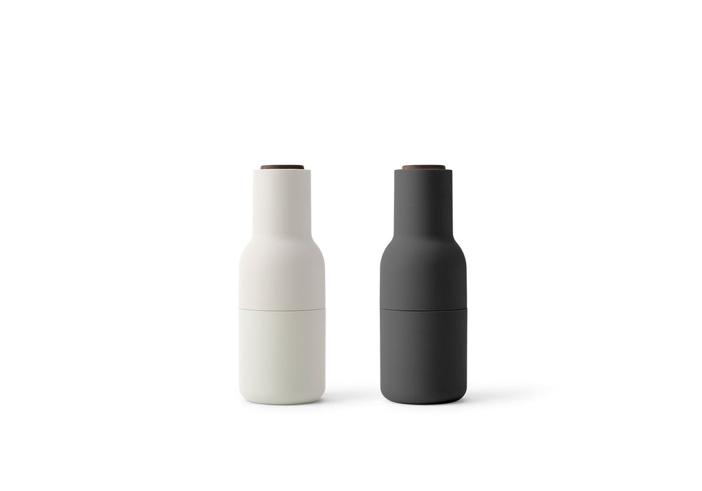 Set of 2 Small Bottle Grinders in Carbon & Ash design by Menu