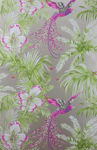 Bird Of Paradise Wallpaper in green and purple from the Samana Collection by Matthew Williamson