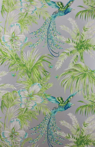 Bird Of Paradise Wallpaper in green and gray from the Samana Collection by Matthew Williamson