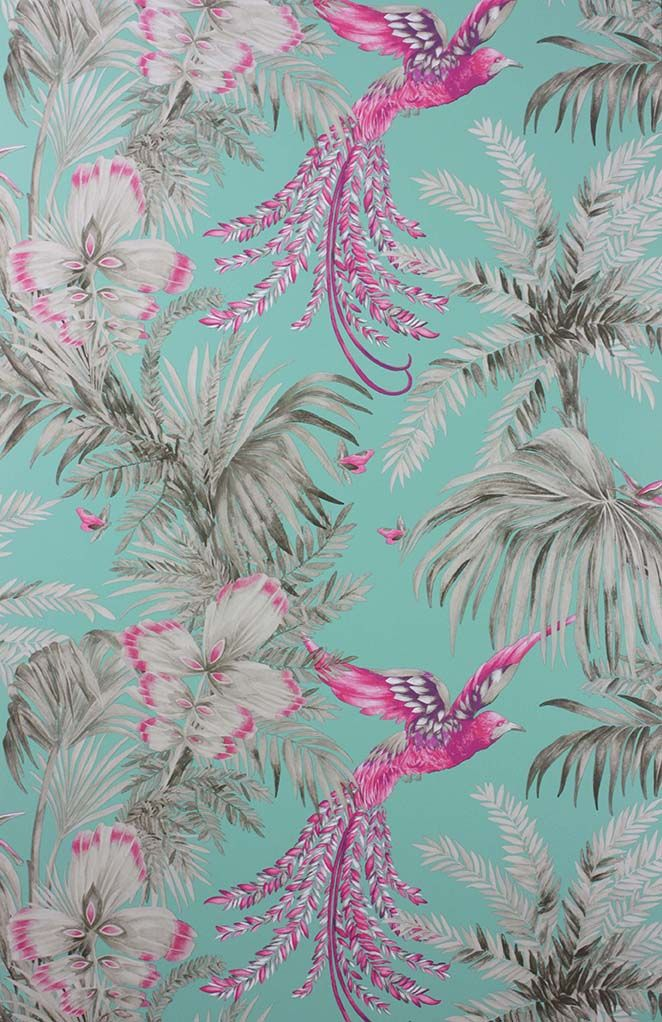Bird Of Paradise Wallpaper in turquoise and pink from the Samana Collection by Matthew Williamson