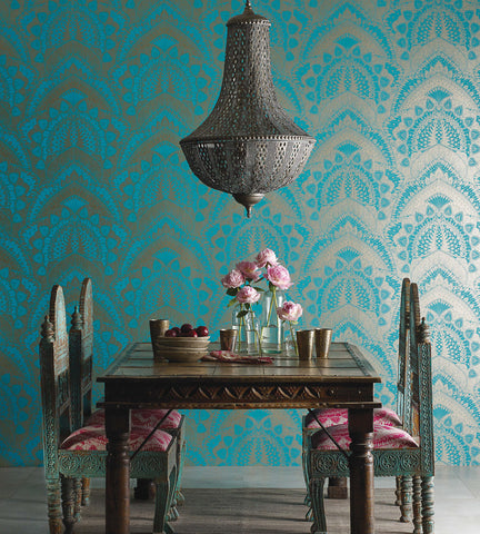 Azari Wallpaper in Turquoise and Gold by Matthew Williamson for Osborne & Little