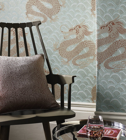 Celestial Dragon Wallpaper in Ice Blue and Rose by Matthew Williamson for Osborne & Little